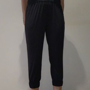 Cropped cinched black workout/lounge pants